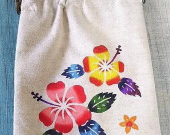 Sea of Okinawa Bingata dyed long pouch Hibiscus
