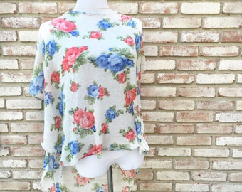 Scoop Neck Top, Floral Knit Top, Hippy Bohemian, Fall Sweater, Dolman Sleeve Top, Beach Cover, Athleisure, Vintage Floral, High Low Tunic