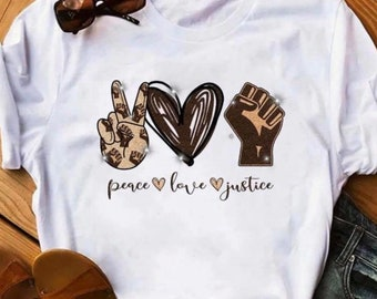 Peace Love Justice, Justice Tees, Black Lives Matter, Be Kind, BLM Shirts, Slogan Tees, Kindness Gifts, Activist Shirts, Protest Tees, Kind