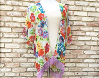 Kimono Cardigan, Fringed Kimono, Women's Gift Ideas, Bridesmaid Robe, Kimono Jacket, Beach CoverUp, Festival Kimono, Nursing Cover,Oversized