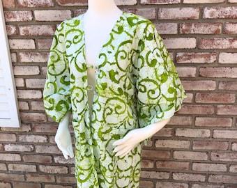 Cotton Kimono, Kimono Wrap, Beach Cover, Kimono Boho, Kimono Cardigan, Batik Cotton, Japanese Kimono, Bridesmaid Gift, Women's Gifts, Green