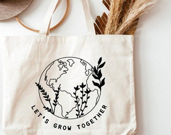Earth Day,Teacher Gifts, Back to School, Future of the world, Market tote, Teacher Tote, Quote bag,Motivational Gift, She believed she could