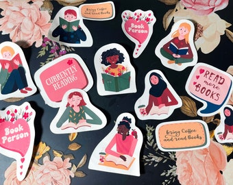 Reading Stickers, Books Stickers Pack, Laptop decals, Self Love, Mental Health stickers, Journal Stickers, Planner Stickers, Sticker Sheets