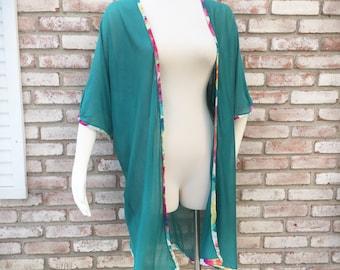 Kimono Cardigan, Kimonos, Teal, Winter Cardigan, Kimono Jacket, Valentines Gifts, Kimonos, Sweater Knit, Tropical Kimono, Beach Cover, Swim