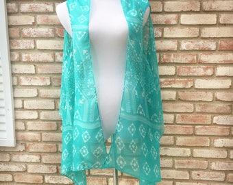 Kimono Vest, Turquoise, Kimono Vest, Boho Kimono, Kimono Cardigan, Beach coverup, Swim Cover, Festival Kimono, Gift Ideas, Vests, Hippy Top