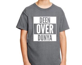 Unisex kids, kids graphic tees, Islamic kids gifts, ramadan t-shirt, eid t-shirt, ramadan mubarak, muslim kids, eid mubarak, Deen over Dunya