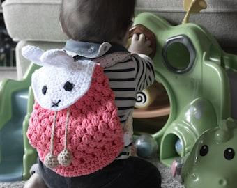 Crochet backpack pattern, Crochet easter bunny backpack, Crochet baby and kid, birthday gift, crochet diaper bag, crochet baby shower gift