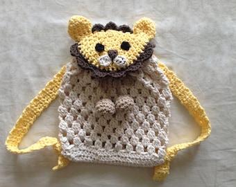 Crochet Lion Backpack for babies and kids - Crochet backpack pattern - crochet diaper bag handmade baby shower gift idea Instant download