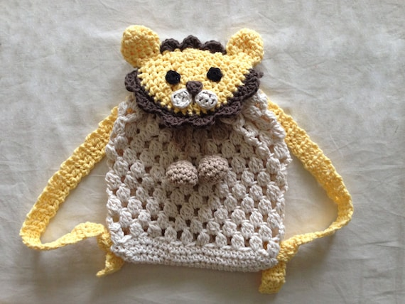 Crochet Lion Backpack For Babies And Kids Crochet Backpack Etsy