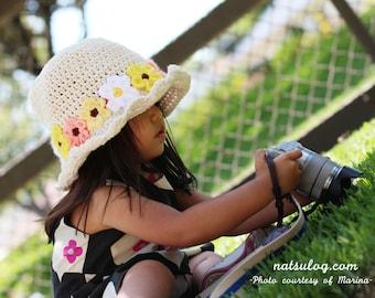 Crochet Hat Pattern - cotton summer hat pattern with flowers, crochet kids pattern, crochet girl, crochet flower hat pattern, crochet sunhat