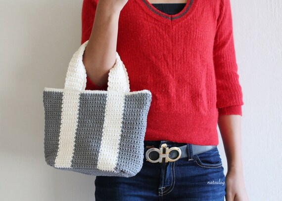 Crochet Simple Tote Bag Pattern Bicolor Bag Crochet Purse Etsy