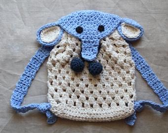 Crochet pattern - Crochet Elephant Backpack for babies and kids, crochet animal backpack pattern, baby diaper bag pattern,  Instant Download