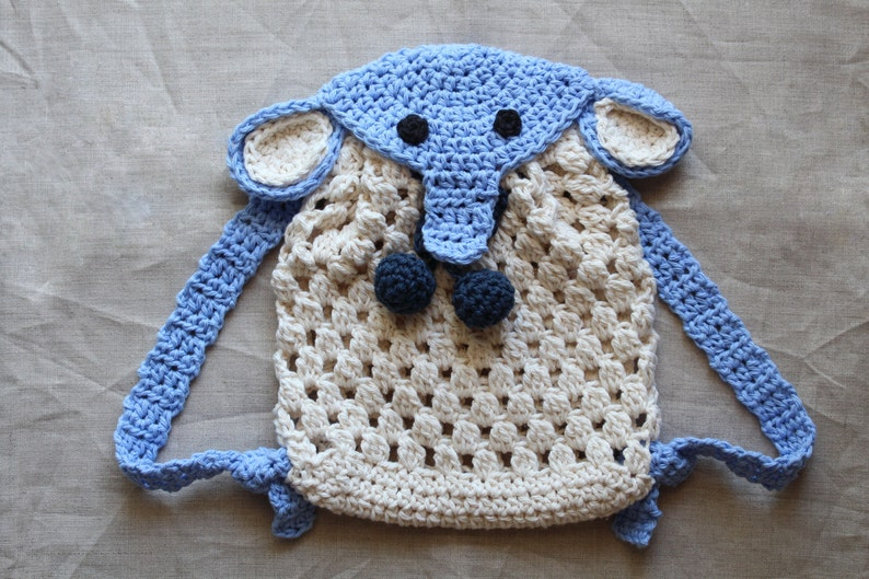 Crochet pattern  Crochet Elephant Backpack for babies and image 0