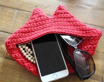 Crochet lip clutch bag, crochet lip pouch, cosmetic bag, crochet for beginner, clutch pattern, crochet gift, easy to follow crochet pattern