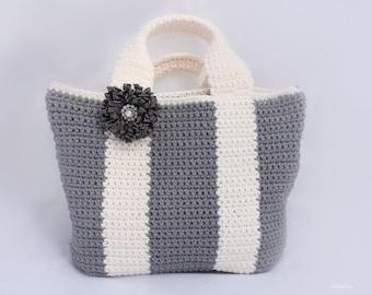 Crochet simple tote bag pattern, Bicolor bag Crochet purse pattern, shopping bag, summer bag, handbag, Instant download, gray and white tote