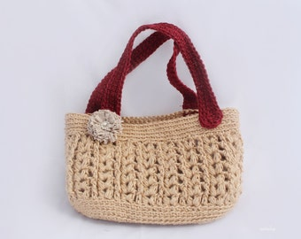 Crochet Jute bag pattern, Crochet tote bag pattern, Crochet summer bag pattern, mother's day gift, Purse pattern, gift for mom, Instant DL