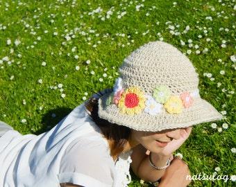 Crochet Hat Pattern - Summer Hat with Jute, flower pattern, eco-friendly, crochet brimmed hat, gift for mom