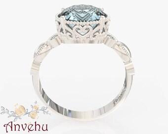 14k White gold engagement ring oval Aquamarine 9x7 Diamonds Hearts Filigree Antique inspired