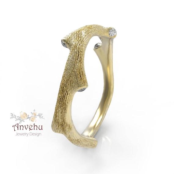 twig wedding ring twig engagement ring natural diamonds