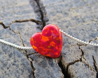 Opal necklace, red heart necklace, silver necklace, opal heart necklace,love necklace, everyday necklace, blue jewelry, gift for her