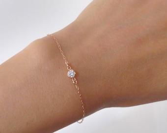 Rose Gold Solitaire Bracelet, Rose Gold Bracelet, CZ Diamond Bracelet, cubic zirconia Bracelet, bridesmaid gift, Simple Delicate Bracelet