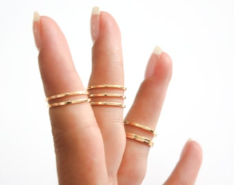 Gold stacking rings, 8 mix Above the knuckle rings, gold midi ring set, plain band midi rings, gold shiny thin rings set of 8, gold ring