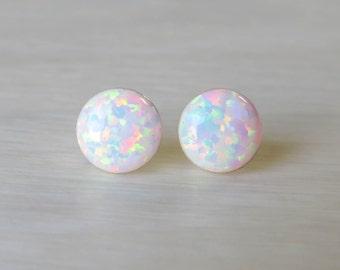 Opal Earrings, Opal Stud Earrings, White Opal Stud Earrings, Blue Opal Stud Earrings, Blue Opal Earrings ,Stud Earrings synthetic Opal Studs