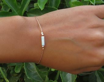 White Opal bracelet, opal bead bracelet, opal rose gold bracelet, opal jewelry, tiny opal bracelet, beaded bracelet, synthetic opal