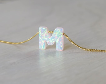 Opal necklace, opal letter necklace, opal gold necklace, opal jewelry, tiny dot necklace, opal bead necklace, white opal Synthetic opal