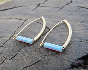 Gold Opal Studs, Gold Opal Stud Earrings, Blue Opal Earrings, Gold earrings, Opal Hoops, Minimal earrings, October Birthstone synthetic opal