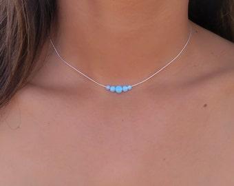 Opal necklace, opal ball necklace, opal silver necklace, tiny dot necklace, opal bead necklace, dot necklace, blue opal synthetic opal