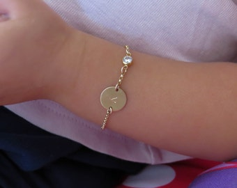 Infant Bracelet, Baby Bracelet, Child Bracelet, Gold Bracelet, gold Initial Bracelet, Baby girl Initial Bracelet, Baptism Gift, personalized