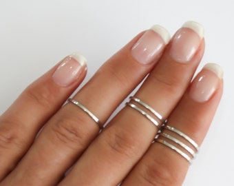 Sterling Silver stacking rings, Above the knuckle rings set, sterling silver midi ring, plain band midi rings, silver shiny thin rings