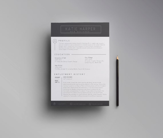 Two Page Resume Cv Cover Letter Template Word Open Office Etsy
