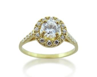 Engagement ring, Halo engagement ring, 14K engagement ring, Halo diamond ring, Yellow gold engagement ring, 18K engagement ring
