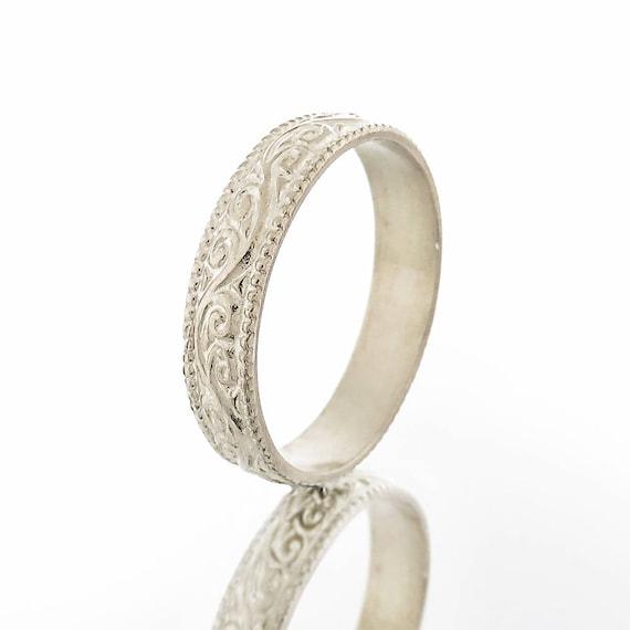 Wedding Band White Gold Wedding Ring Men S Wedding Ring Etsy