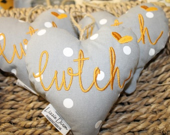 Linen Fabric Heart Hanging Heart  Linen Heart Patchwork Heart Home Decor Quilted Heart  Wedding Gift
