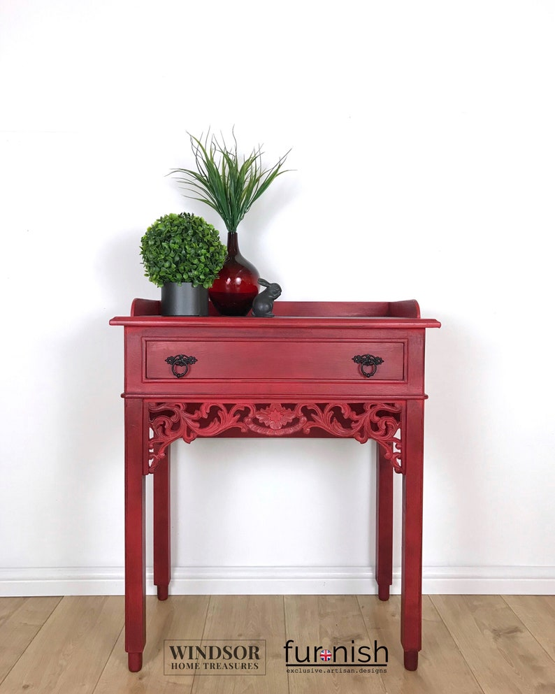 Pleasing Vintage Console Table In Red With Drawer Home Interior And Landscaping Dextoversignezvosmurscom