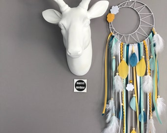Dream catcher weaving Sun and clouds in mint, Teal and mustard colors