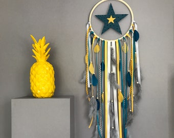 Dream catcher star in mustard yellow, duck blue and grey