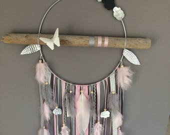 Dream catcher, dreamcatcher cloud and glitter driftwood, origami, feathers and beads wood - GM