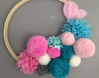 Pom poms and flowers wall decor fabrics Pinks and turquoise