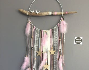 Dream catcher dreamcatcher Driftwood beige, pink and taupe with stars