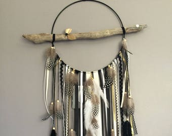 Dream catcher with driftwood, origami, feathers and black, taupe, gold - large wood beads