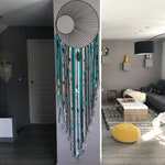 Dream catcher / dreamcatcher giant 60 cm in diameter and 2.20 m long in shades of teal, Navy Blue, grey and gold with woven sole