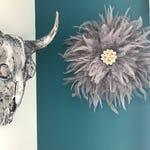 Jujuhat / juju hat handmade in natural feathers 38 cm in diameter - silver grey colors