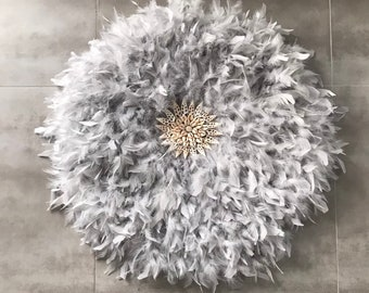 Giant Jujuhat / juju hat XXL handmade in natural feathers 80 cm in diameter - pearl grey color