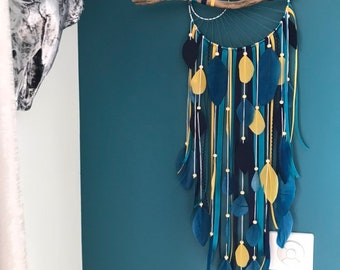 Catch dreamcatcher reves weaving duck blue sun, in duck blue, navy and mustard and driftwood