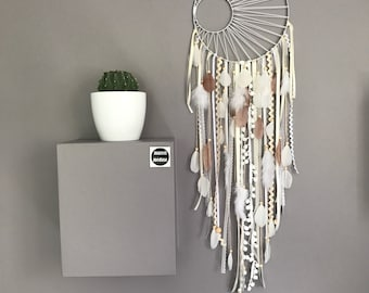 Large Dream catcher weaving Black Sun, in ivory, white and fawn