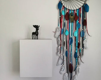 Dreamcatcher Dream Catcher with sun weaving and driftwood colors navy blue, duck blue, burgundy and grey